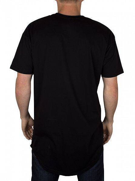 Sik Silk Black Curved Hem T-Shirt