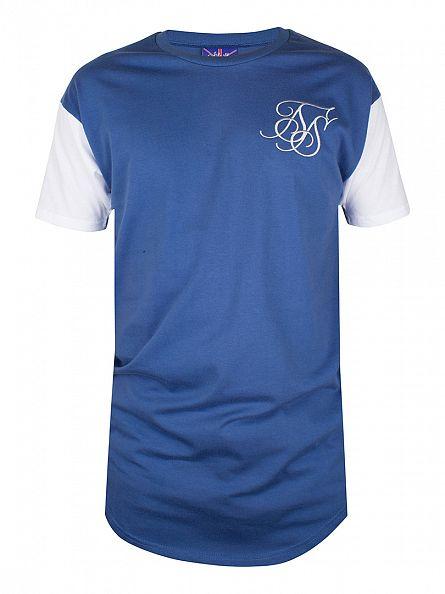 Sik Silk Ink Blue Curved Hem T-Shirt