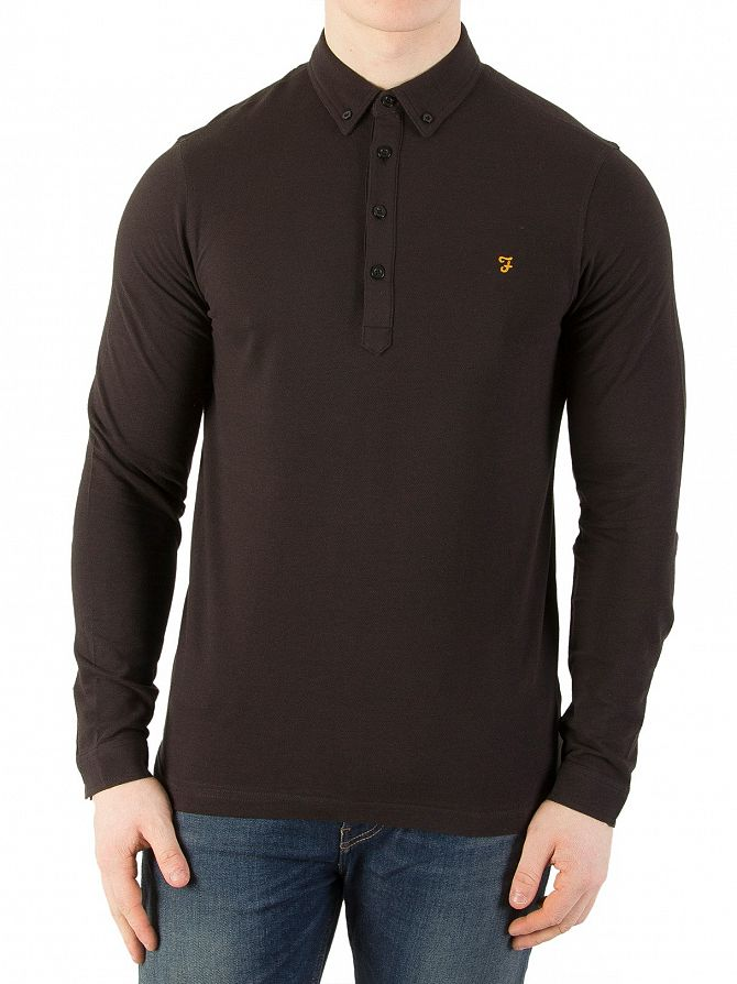 Farah Vintage Black The Merriweather Longsleeved Polo Shirt