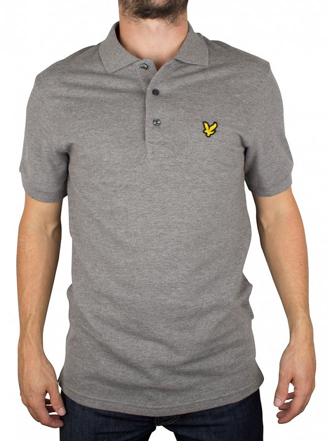 Lyle & Scott Mid Grey Marl Shortsleeved Plain Pique Polo Shirt