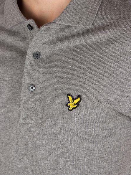 Lyle & Scott Mid Grey Marl Shortsleeved Plain Pique Polo Shirt