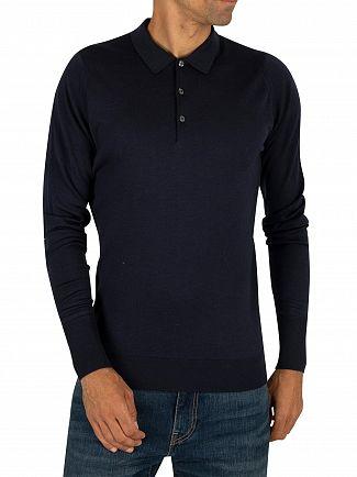 John Smedley Midnight Longsleeved Knitted Polo Shirt