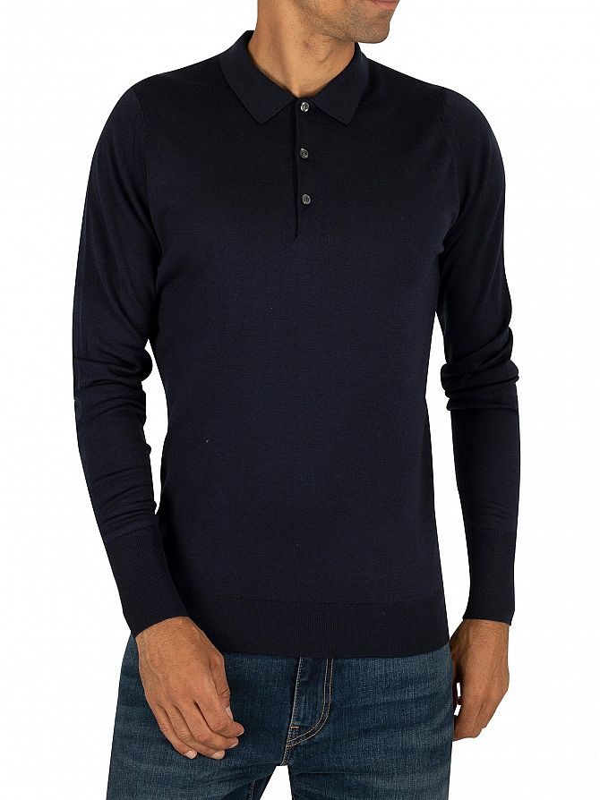 John Smedley Midnight Longsleeved Knitted Polo Shirt