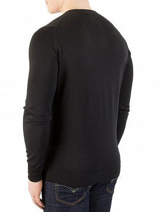 John Smedley Black Bobby V-Neck Knit
