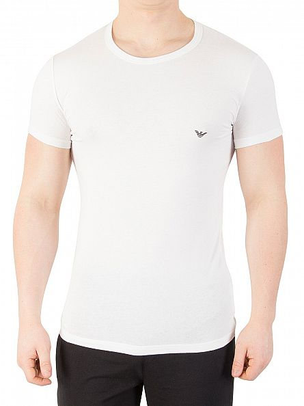 Emporio Armani White Eagle Stretch Crew Neck T-Shirt