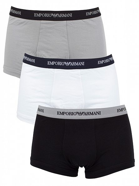 Emporio Armani White/Black/Grey 3 Pack Stretch Cotton Trunks