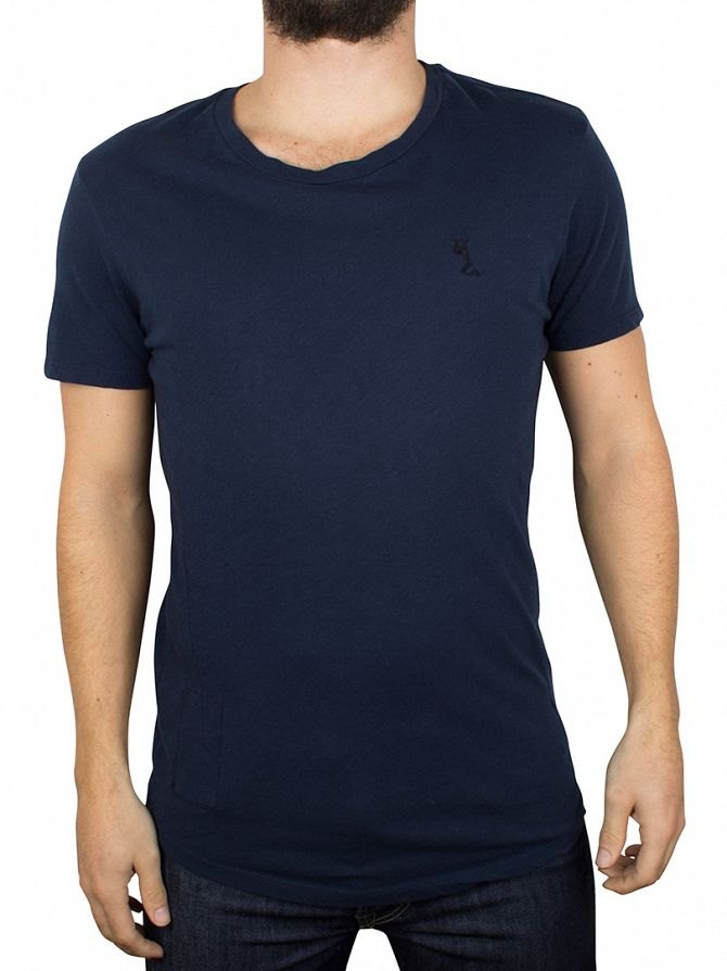 Religion French Navy Plain Crew Neck T-Shirt