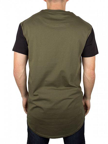 Sik Silk Khaki Curved Hem T-Shirt