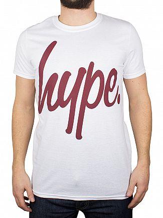 Hype White/Burgundy Script T-Shirt