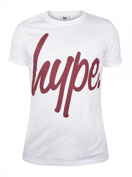 Hype White/Burgundy Script T-Shirt