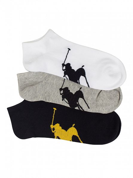 Polo Ralph Lauren Black/White/Grey 3 Pack BBP Sole Socks