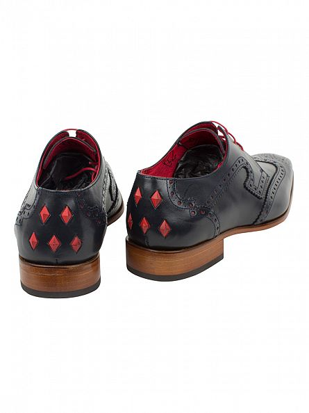 Jeffery West Dark Blue/Charcoal Red Capone Boxcalf Shoes