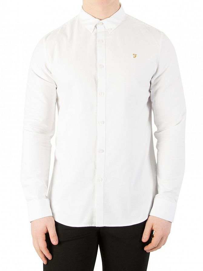 Farah Vintage White Brewer Slim Longsleeved Shirt