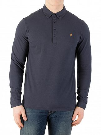 Farah Vintage New Navy Merriweather Longsleeved Polo Shirt