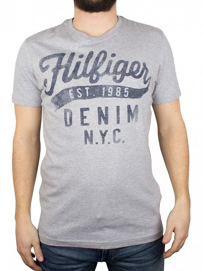 Hilfiger Denim Light Grey Heather Tommy Logo T-Shirt