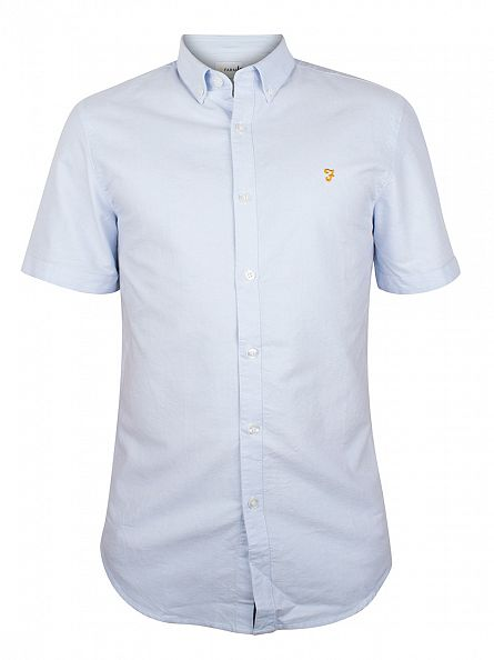 Farah Vintage Sky Blue Brewer Short Sleeved Shirt