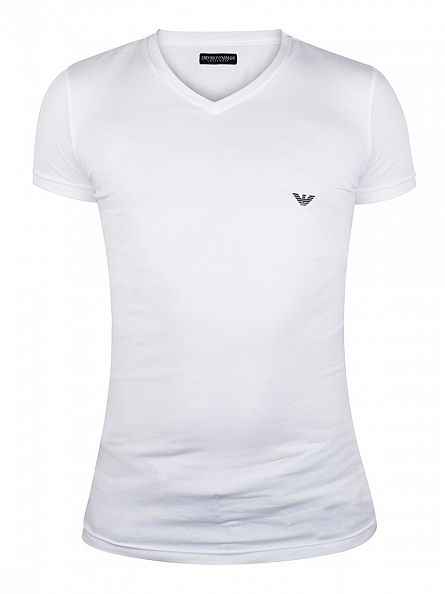 Emporio Armani White V Neck T-Shirt