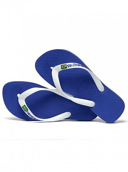 Havaianas Marine Blue Brasil Logo Flip Flops
