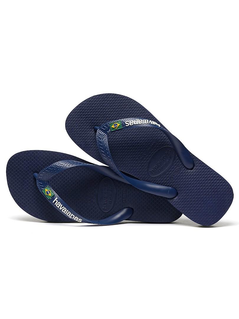 018433bf2 Havaianas Navy Blue Brasil Logo Flip Flops