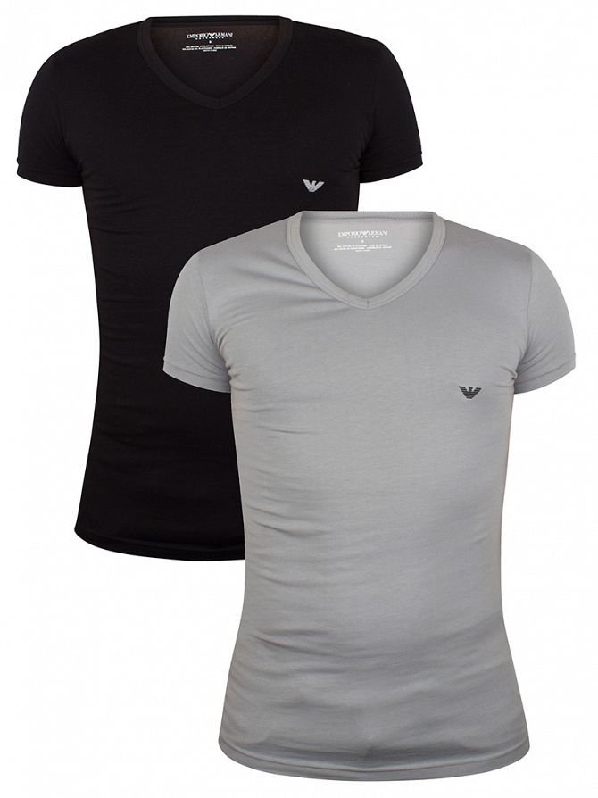 Emporio Armani Black/Grey 2 Pack V-Neck T-Shirts