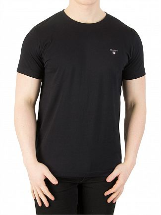 Gant Black Plain Crew Neck T-Shirt
