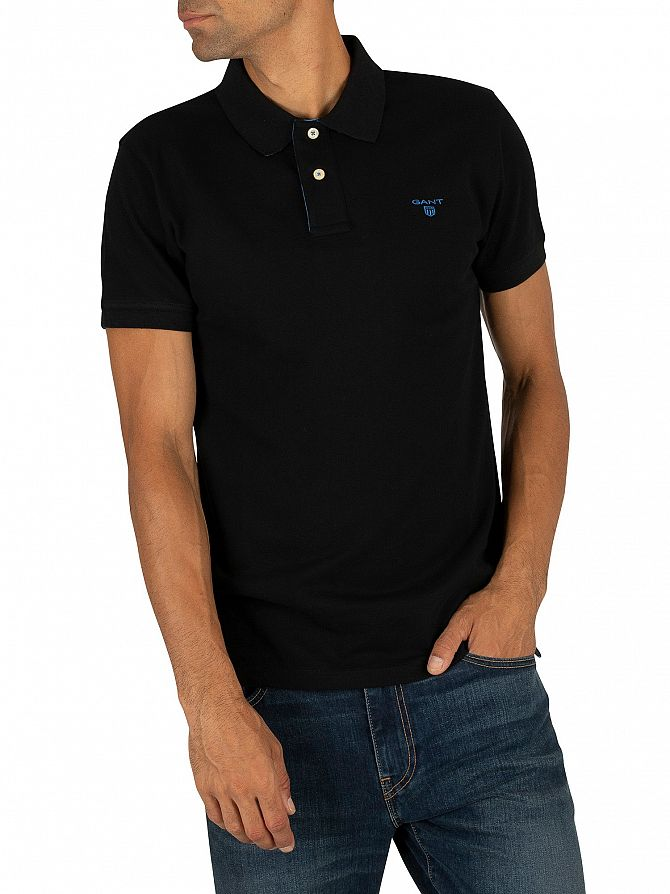 Gant Black Contrast Collar Pique Rugger Polo Shirt