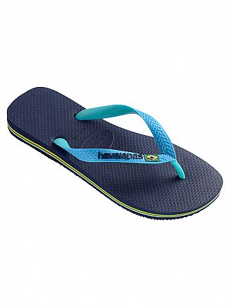 Havaianas Marine Blue/Turquoise Brasil Mix Flip Flops