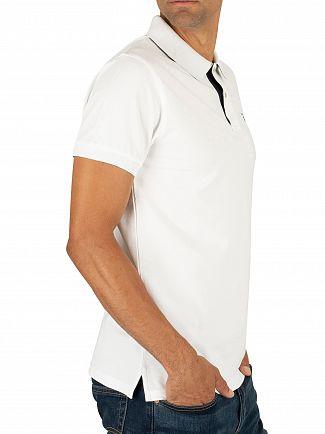 Gant White Contrast Collar Pique Rugger Polo Shirt