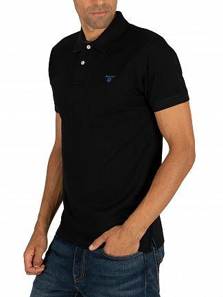Gant Black Contrast Collar Pique Rugger Polo Shirt