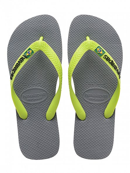 Havaianas Steel Grey Brasil Logo Flip Flops