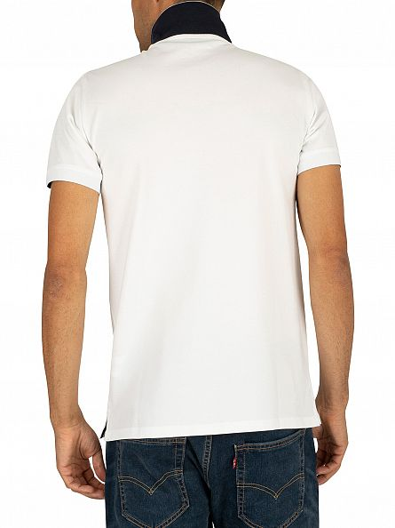 Gant White Contrast Collar Pique Rugger Polo Shirt