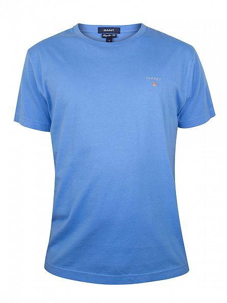 Gant Pacific Blue Solid Plain T-Shirt