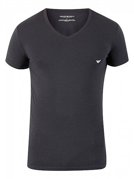 Emporio Armani White/Marine 2 Pack V-Neck T-Shirts