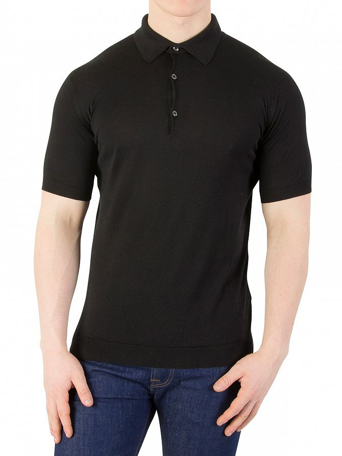 John Smedley Black Adrian Plain Polo Shirt