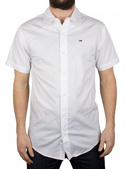 Hilfiger Denim Classic White Sabim S1 Plain Shortsleeved Shirt