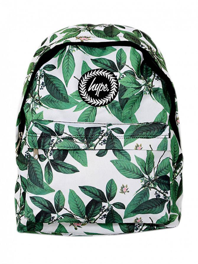 Hype White Leaves Print Backpack