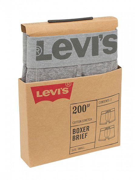 Levi's Middle Grey Melange 2 Pack Logo Boxer Briefs