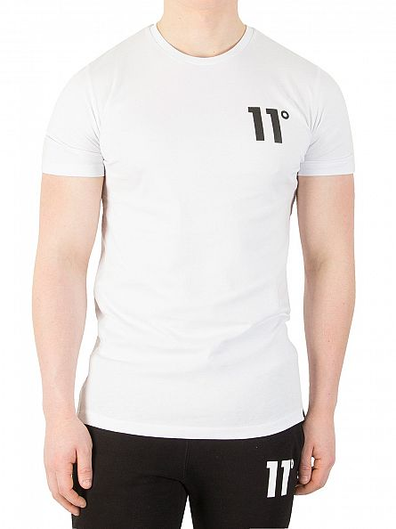 11 Degrees White Brand Carrier Logo T-Shirt