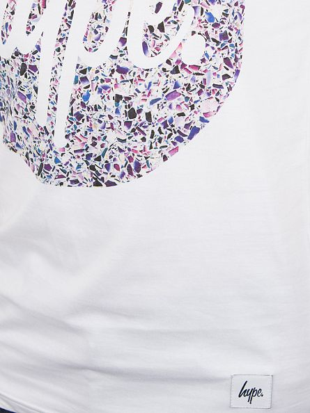 Hype White Broken Glass Circle Print T-Shirt
