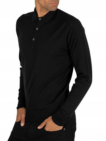 John Smedley Black Cotswold Longsleeved Polo Shirt