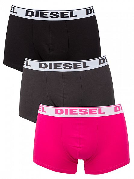 Diesel Charcoal/Pink/Black Shawn 3 Pack Boxer Trunks