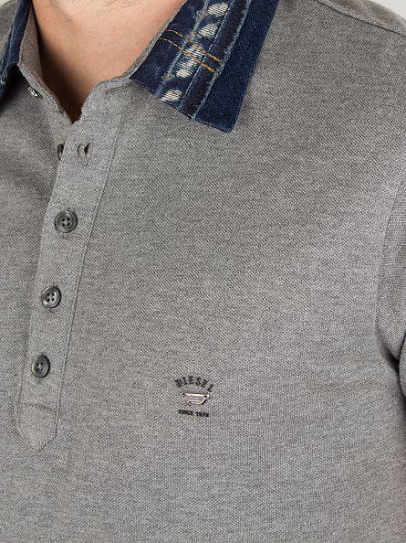 Diesel Grey Serpico Denim Collar Polo Shirt