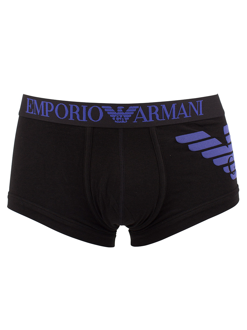 emporio armani black logo trunks