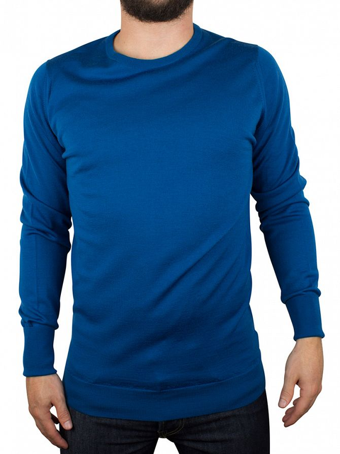 John Smedley Maritime Blue Marcus Pullover Knit