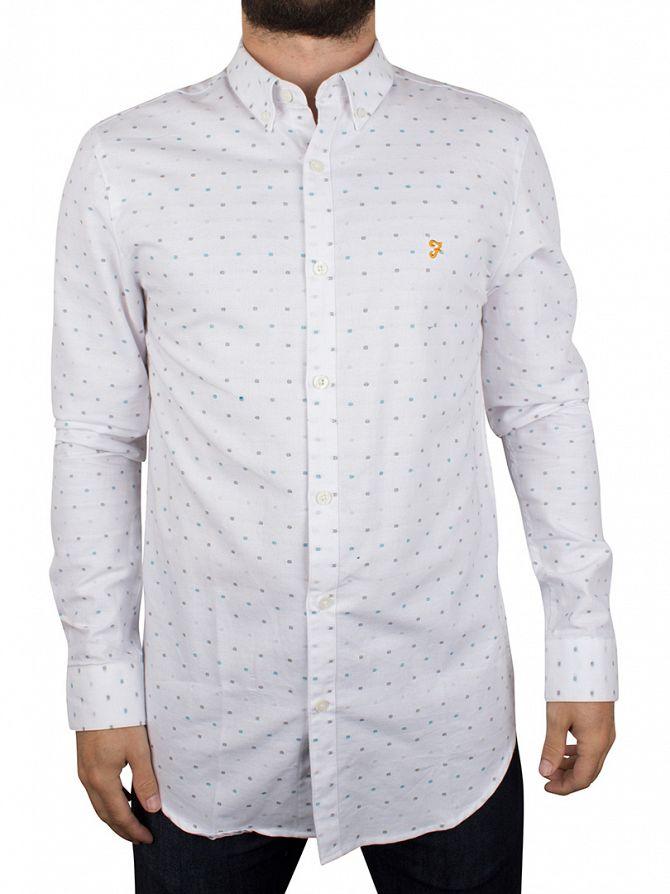 Farah Vintage White Garfield Longsleeved Pattern Shirt