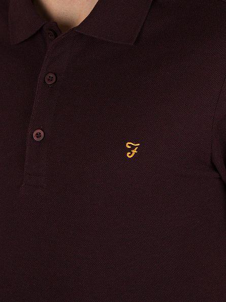 Farah Vintage Bordeaux Blaney Logo Polo Shirt