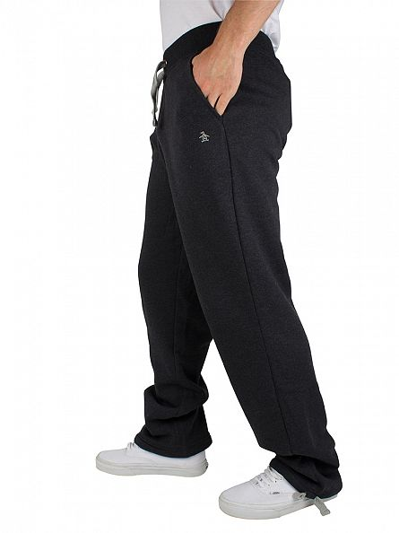 Original Penguin Black Heather Logo Drawstring Waist Sweat Joggers