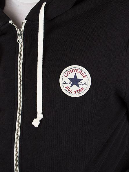 Converse Black Core Full Zip Logo Hoodie