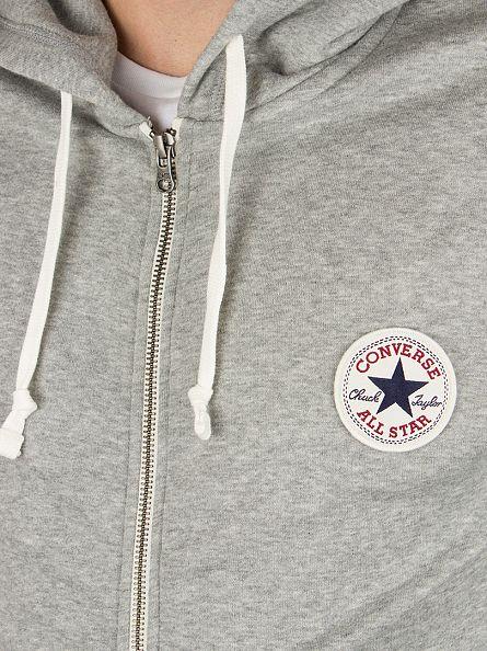 Converse Vintage Grey Core Full Zip Logo Hoodie