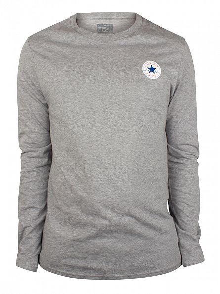 Converse Vintage Grey Longsleeved Core Left Chest Logo T-Shirt